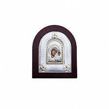 Серебряная икона Казанской Божьей Матери в дереве