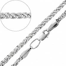 Серебряная объемная родированная цепочка Прага с алмазной гранью