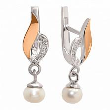 Серебряные серьги с жемчугом и золотыми вставками Флоренция
