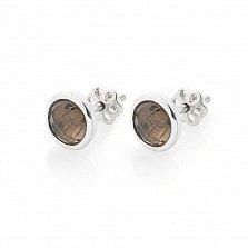 Серебряные серьги-пуссеты Тания с раухтопазом