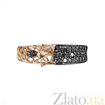 Золотое кольцо с черными бриллиантами Трудолюбие 000026934