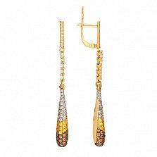 Серьги подвески из желтого золота с цирконием Николь