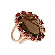 Золотое кольцо с дымчатым кварцем Айседора