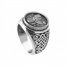 Серебряный перстень-печатка Святой Николай