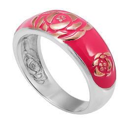 Серебряное кольцо с эмалью Роза