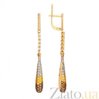 Серьги подвески из желтого золота с цирконием Николь VLT--ТТ2256
