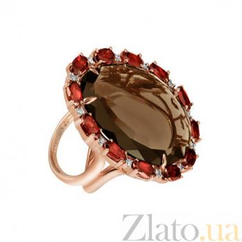 Золотое кольцо с дымчатым кварцем Айседора KBL--К5003/крас/квар