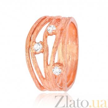 Позолоченное кольцо из серебра с фианитами Девара 000028246