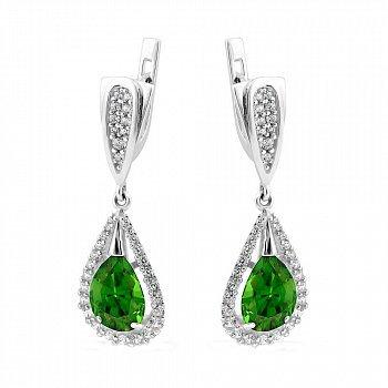 Серебряные родированные серьги-подвески с зелеными алпанитами и белыми фианитами 000106056