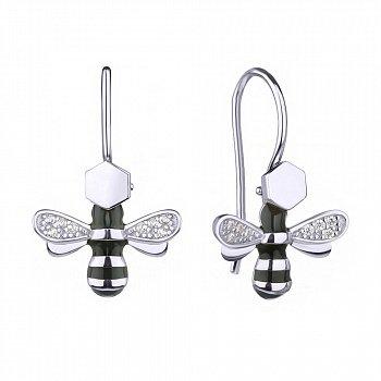 Серебряные серьги Милые пчелки с эмалью и фианитами 000113718