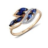 Кольцо из красного золота Хизер с бриллиантами и сапфирами