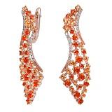 Золотые серьги с бриллиантами, оранжевыми и желтыми топазами Феникс