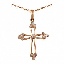 Крестик из красного золота с бриллиантами Милость Божья