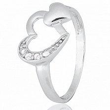 Серебряное кольцо Два сердца с цирконием