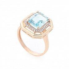 Золотой перстень Бронкс с голубым топазом и фианитами