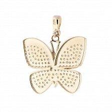 Золотой подвес Бабочка с фианитами