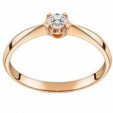 Помолвочное кольцо из красного золота Королевский цветок с бриллиантом 2,5мм
