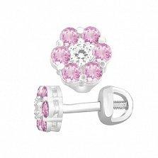 Серебряные пуссеты Очарование с цветочком из розового и белого циркония