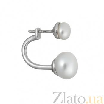 Серебряная серьга с жемчугом Лунный свет Ж-Жс