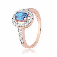 Позолоченное серебряное кольцо с голубым фианитом Исидора
