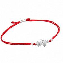 Шелковый браслет Девочка с бантиками с фигурной серебряной вставкой