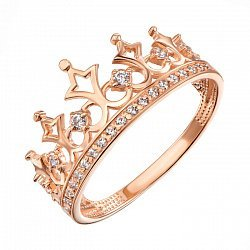 Кольцо-корона из красного золота с фианитами 000104500