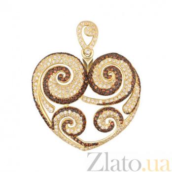 Золотая подвеска Сердце VLT--ТТТ3479