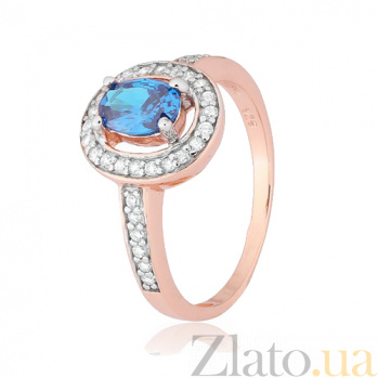 Позолоченное серебряное кольцо с голубым фианитом Исидора 000028444