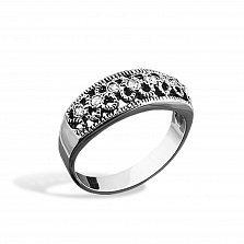 Серебряное кольцо Ефимия с фианитами и чернением