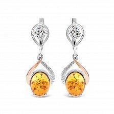 Серебряные серьги-подвески Рейчел с золотыми накладками, янтарем и фианитами