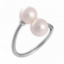 Серебряное разомкнутое кольцо с искусственным жемчугом 000028049