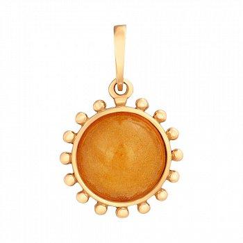 Позолоченная серебряная подвеска Услада в виде солнца с лимонным янтарем 000118953