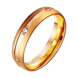 Золотое обручальное кольцо Чувственность с фианитами
