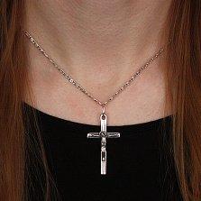 Серебряный крестик Божественное благословение с чернением