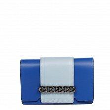 Кожаный клатч 1663 в синем цвете с голубыми вставками, декоративным элементом и ремнем на плечо