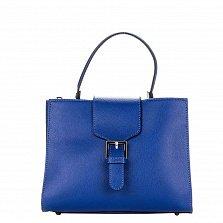 Кожаная деловая сумка Genuine Leather 8681 синего цвета с клапаном на магнитной кнопке
