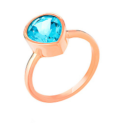 Кольцо из золота с голубым топазом Теплый бриз