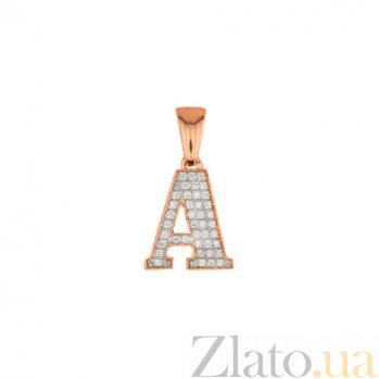 Золотая подвеска Буква А VLT--ЕЕ3549-А