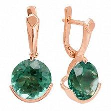 Сережки из красного золота с зеленым аметистом Клэр