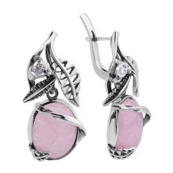 Серебряные серьги Сафьян с розовым кварцем и фианитами