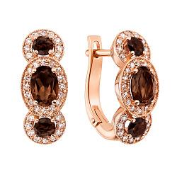 Серьги из красного золота с раухтопазами и бриллиантами 000131214