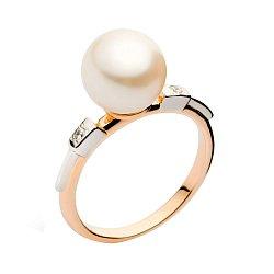 Золотое кольцо с жемчугом и фианитами Лилит 000008469