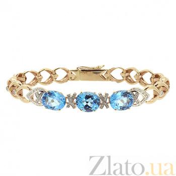 Браслет из красного золота с топазами и бриллиантами Лазурный берег ZMX--BCT-6491_К