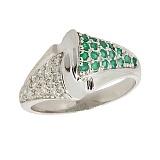 Серебряное кольцо с бриллиантами и изумрудами Филомена
