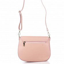 Кожаный клатч Genuine Leather 8621 розового цвета с декоративным элементом и плечевым ремнем