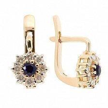 Золотые серьги с бриллиантами и сапфирами Юна