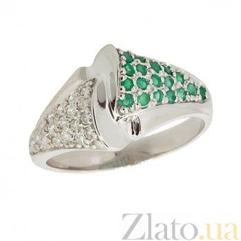 Серебряное кольцо с бриллиантами и изумрудами Филомена ZMX--RDE-6450-Ag_K