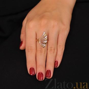 Золотое кольцо с цирконием Крыло ангела EDM--КД0322