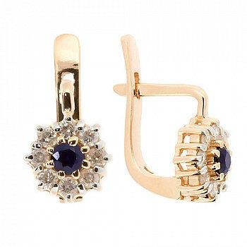 Золотые серьги с бриллиантами и сапфирами 000021758