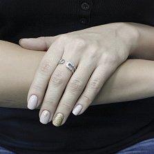 Серебряное кольцо Загадка с разомкнутой шинкой в виде булавки и цирконием